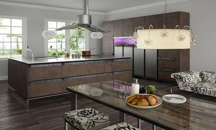 cucina stile industriale mobili legno colore scuro