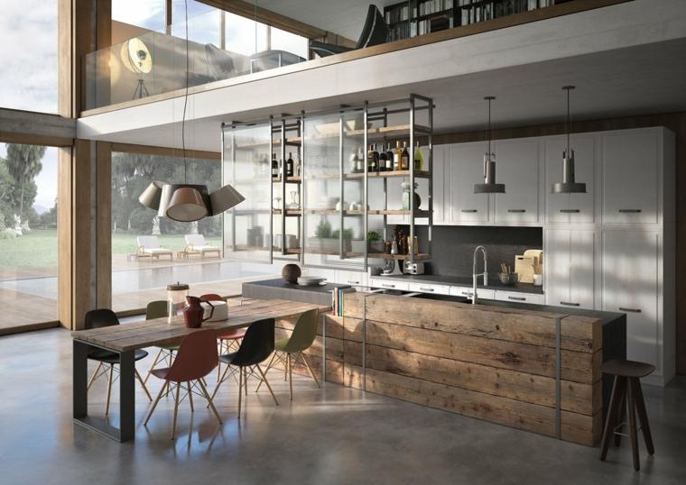 cucina stile industriale moderno prolungamento isola come tavolo da pranzo mobili in legno
