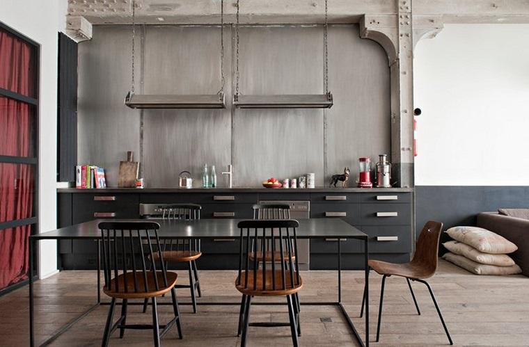 cucina stile industriale parete colore grigio