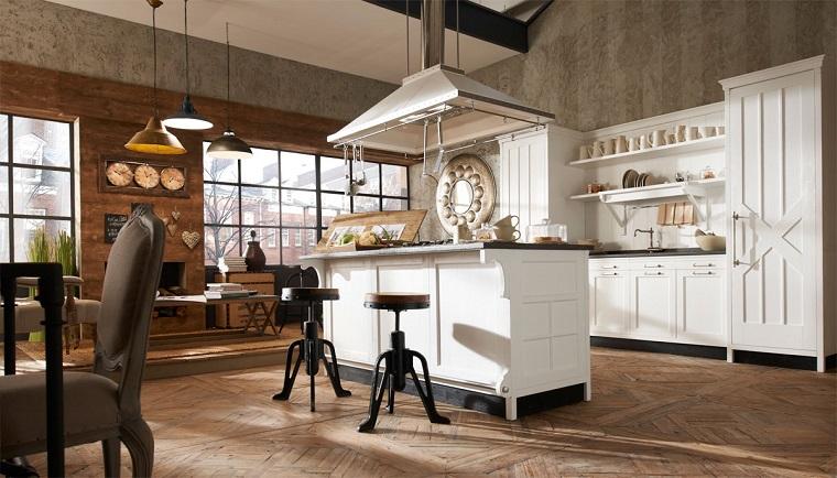 cucina stile vintage isola centrale bianca parete legno