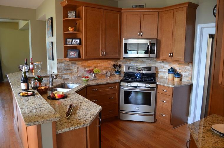 cucine ad angolo legno top marmo