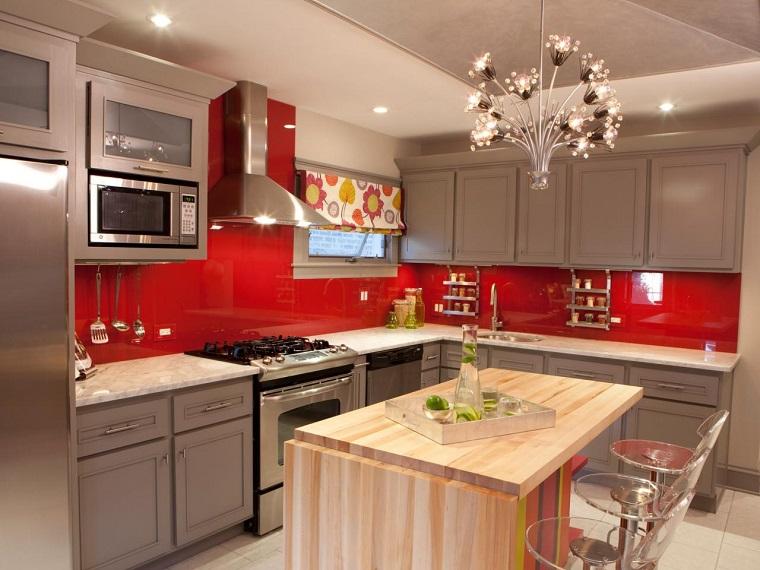 cucine ad angolo mobili grigi rossi laccati
