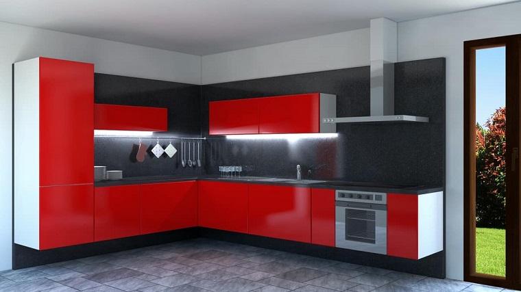 cucine ad angolo mobili rossi laccati