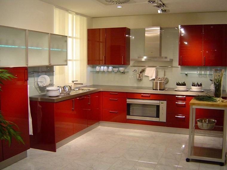 cucine ad angolo mobili rossi moderni