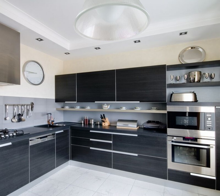 cucine ad angolo modene nere acciaio