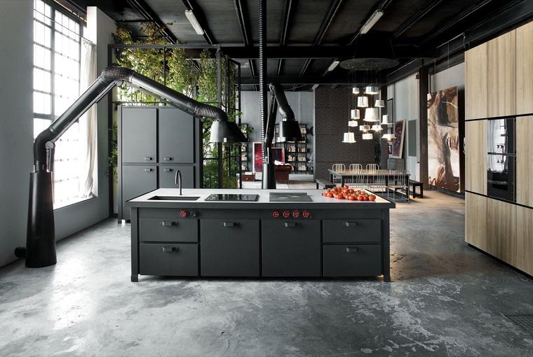 cucine bellissime idea isola stile industriale