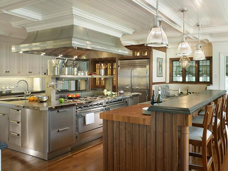 cucine bellissime idea legno abbinato acciaio