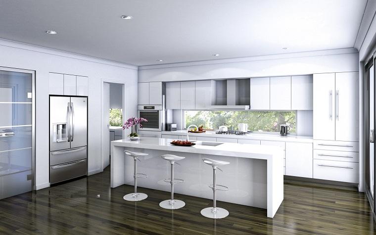 cucine con isola mobili bianchi laccati