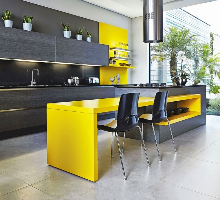 cucine con isola proposta moderna grigio giallo