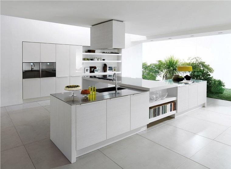 cucine con isola proposta total white