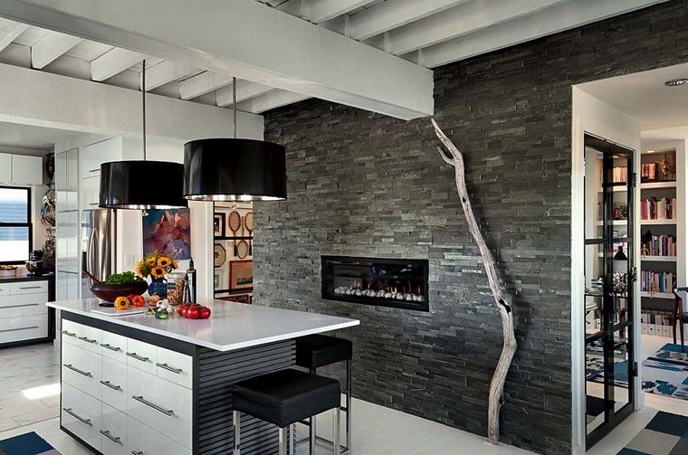 cucine da sogno parete muratura camino