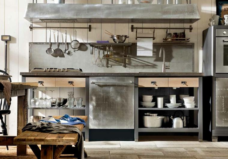 cucine industriali per casa mobili in acciaio inox grigio tavolo da pranzo rustico con panchina