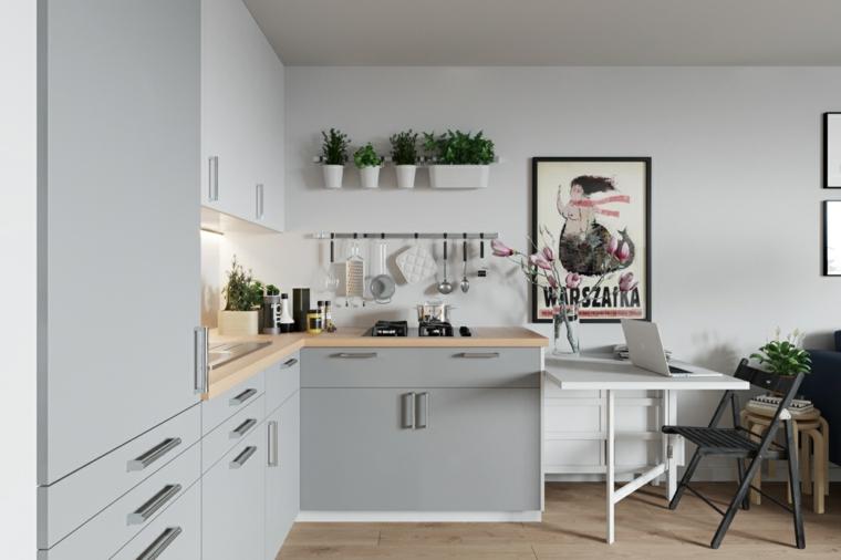 Abbinamento colori grigio, cucina con pareti bianche, cucina angolare di colore grigio