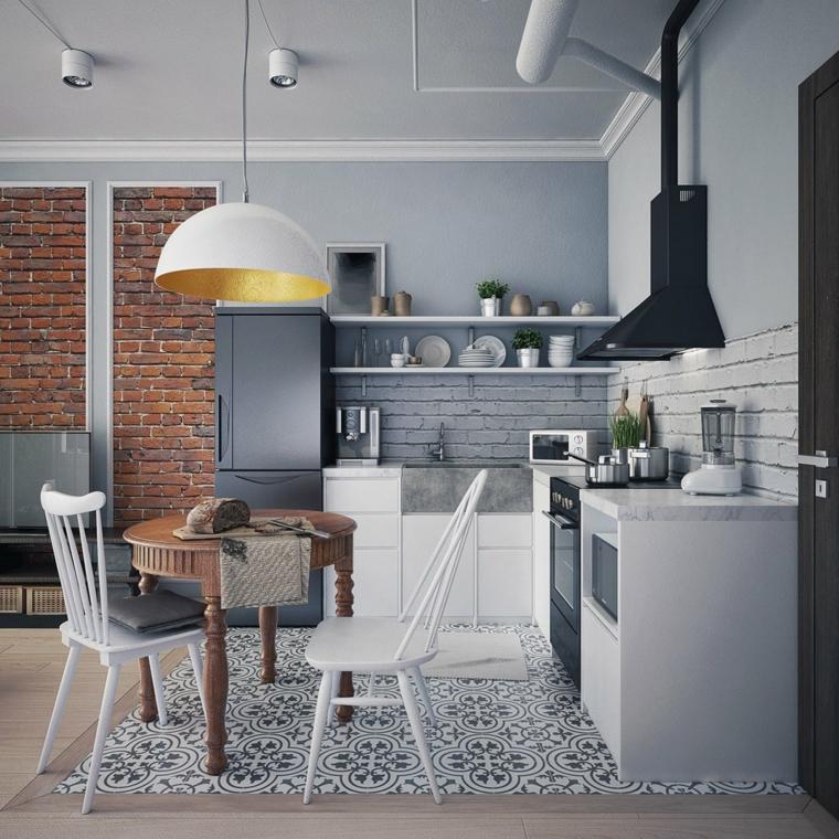 Come pitturare la cucina, pavimento cucina in piastrelle, parete paraschizzi in piastrelle