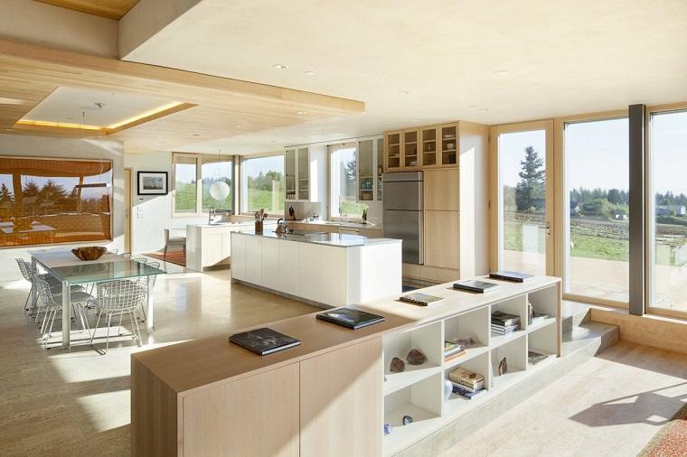 cucine open space idea toni bianco marrone