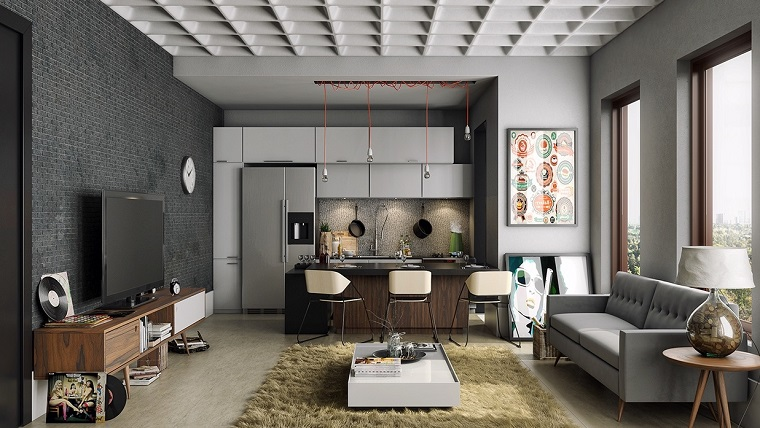 cucine open space toni grigio