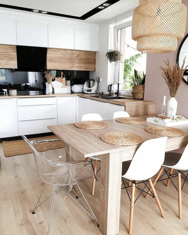 cucine piccola con pensisola cucina con sala da pranzo lampadario sospeso in rattan