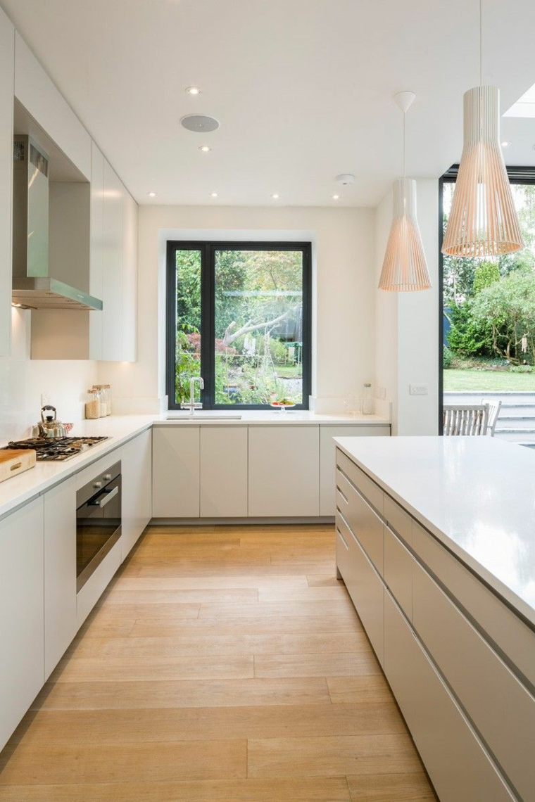 cucine piccole ad angolo con isola arredamento con mobili bianchi lucidi
