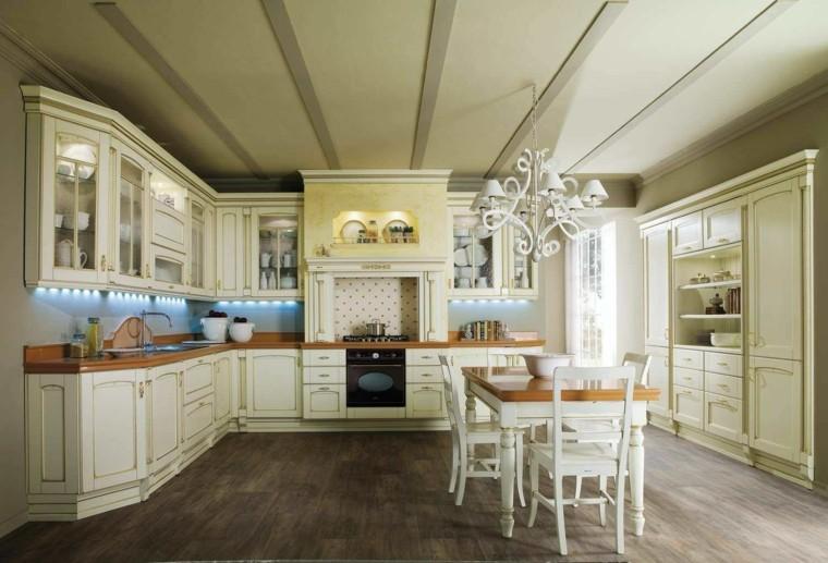 cucine stile country mobili colore chiaro tavolo