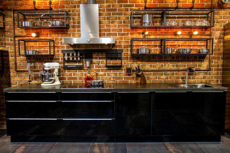 cucine stile industriale economiche finta parete di mattoni a vista