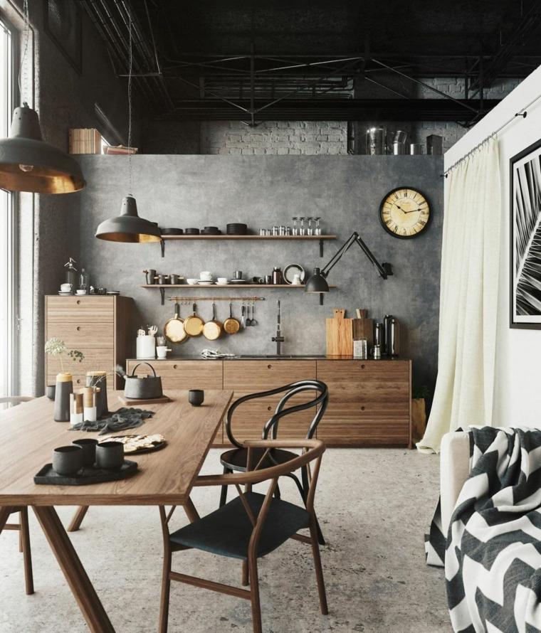 cucine stile industriale economiche open space con sala da pranzo mobili in legno