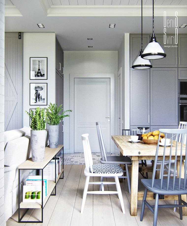 cucine stile provenzale tavolo da pranzo in legno pavimento legno massello chiaro