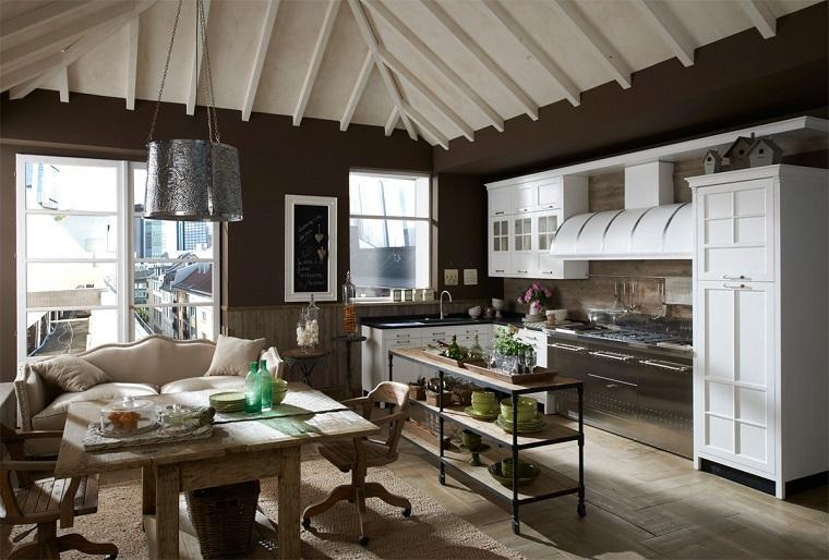 cucine vintage proposta pareti colore grigio