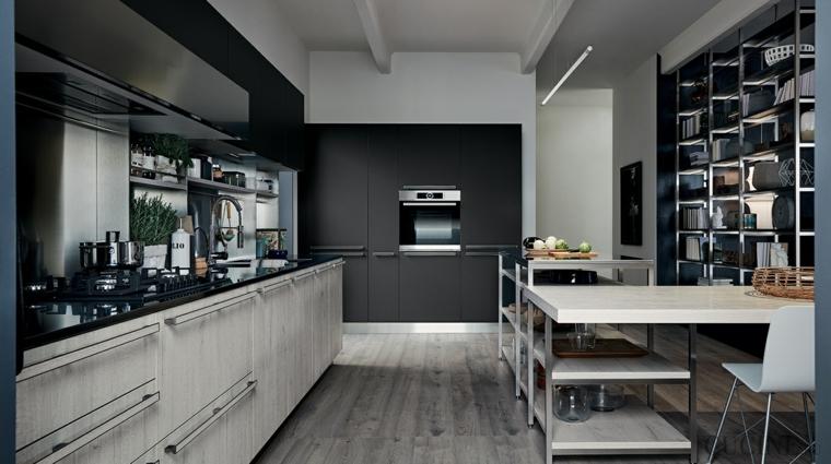 decorazione cucina con mobili di stile industriale pavimento in pvc grigio
