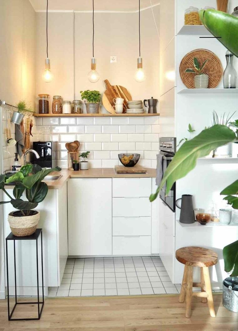 decorazione cucina con piante da appartamento pavimento in piastrelle bianche