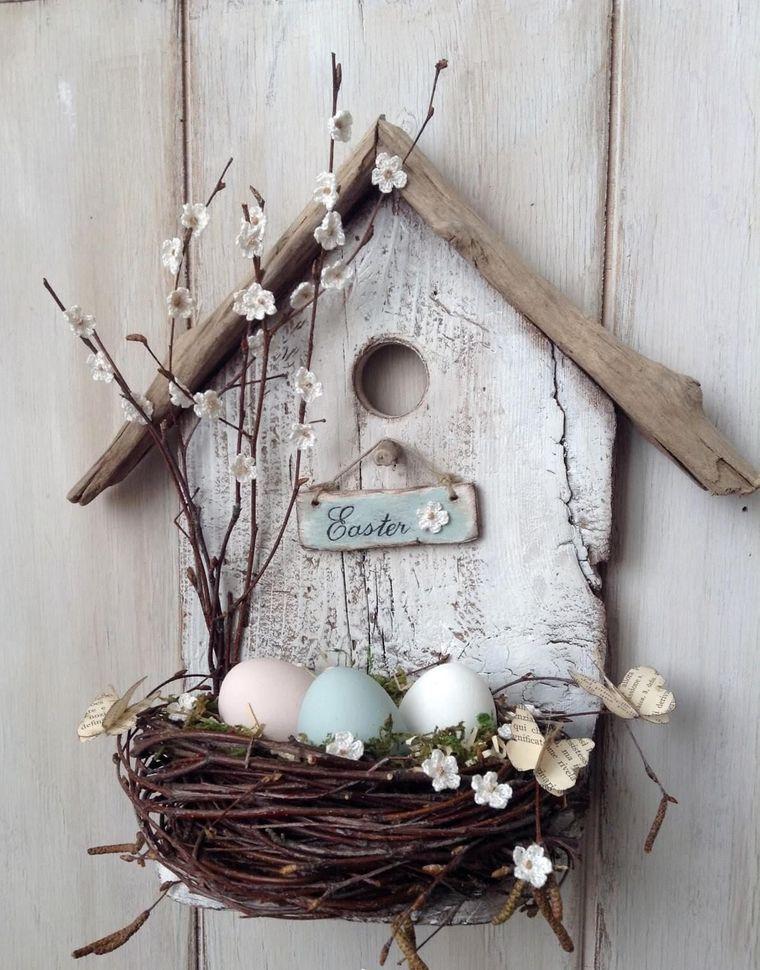decorazione da appendere per pasqua casetta di legno con nido per uova