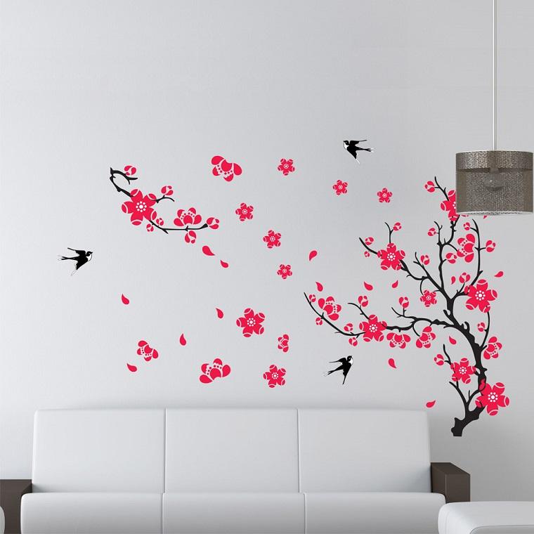 decorazioni di primavera stencil salotto