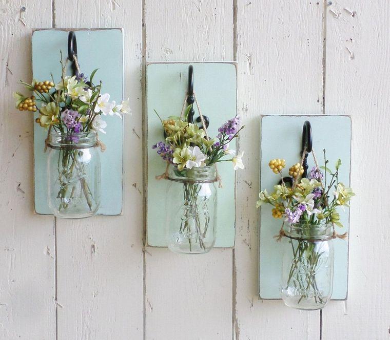 decorazioni pasquali da appendere barattoli di vetro come vaso per fiori