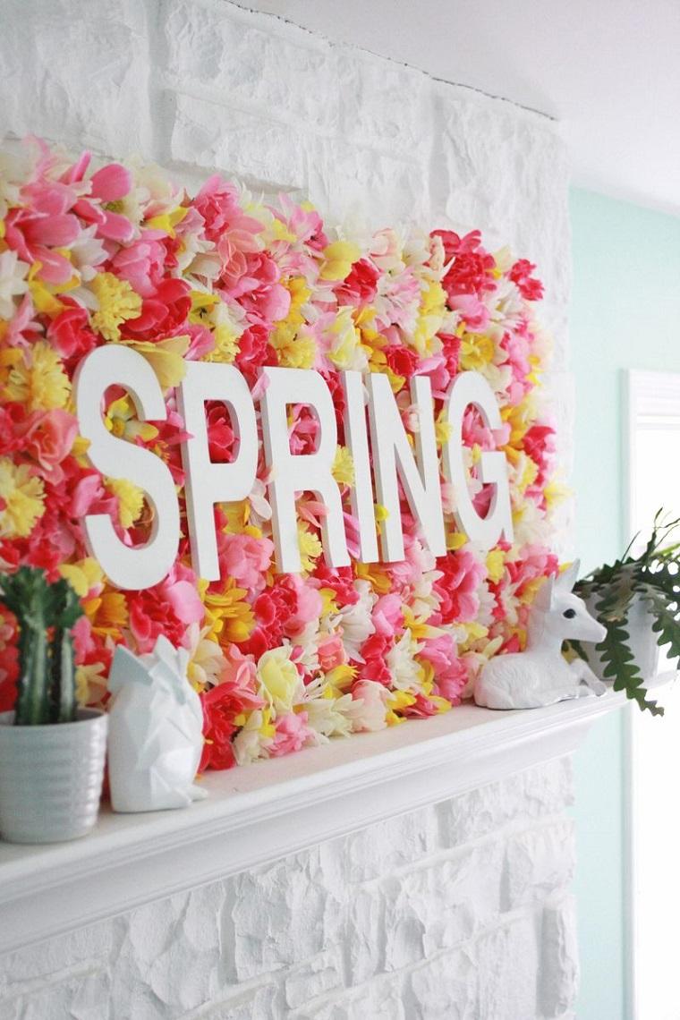 decorazioni pasquali fai da te scritta in legno spring sfondo con fiori finti