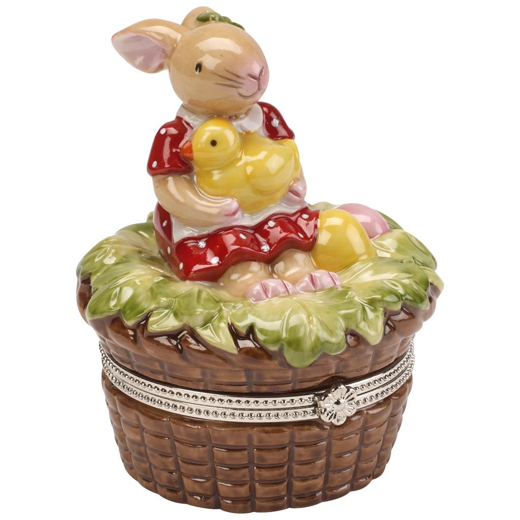 decorazioni primaverili cesto coniglietto ceramica
