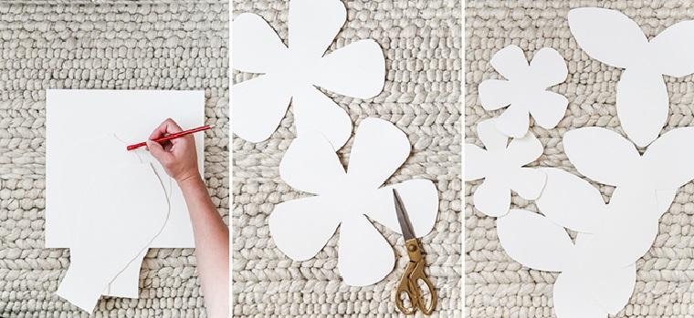 disegnare un fiore su foglio bianco ritagliare con le forbici tutorial decorazioni primaverili