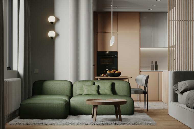 divano verde monolocale cucina pareti beige color crema tortora tavolino legno