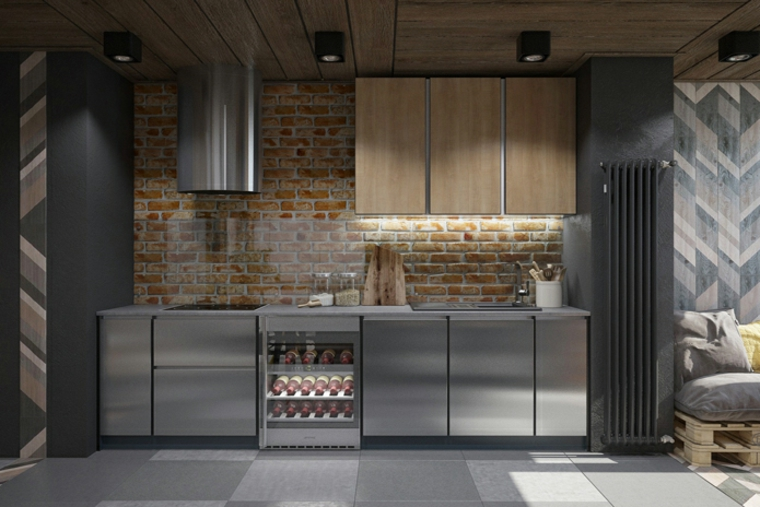 finta parete di mattoni a vista cucine industriali per casa pavimento con piastrelle grigie