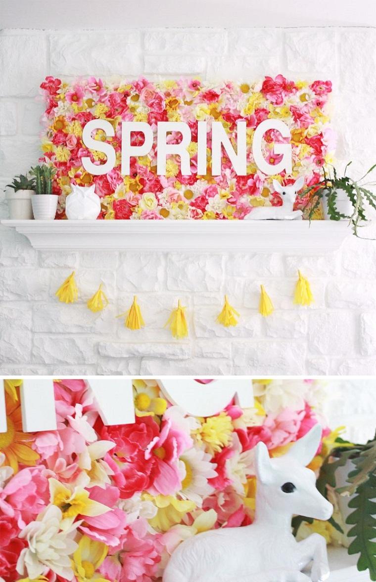 ghirlanda con nappe gialle decorazione da parete con fiori finti e lettere di legno