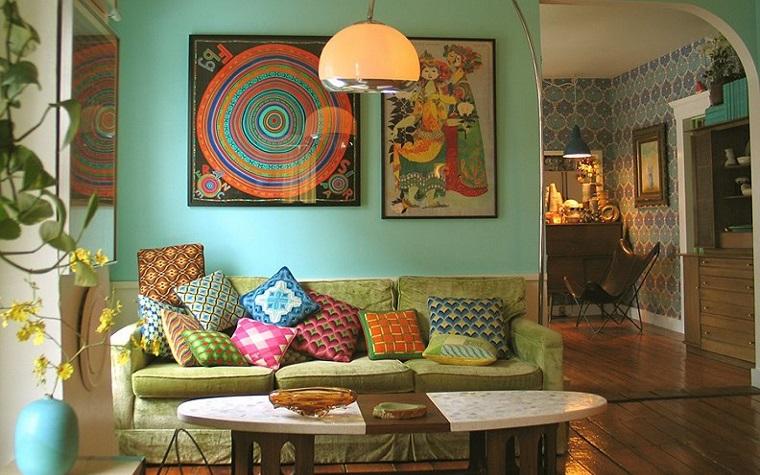 hippie style decorazione zona salotto