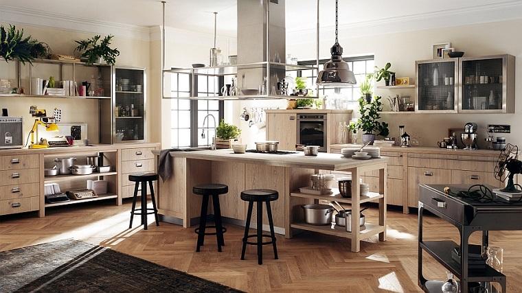 idea arredamento cucina design vintage dimensioni grandi legno