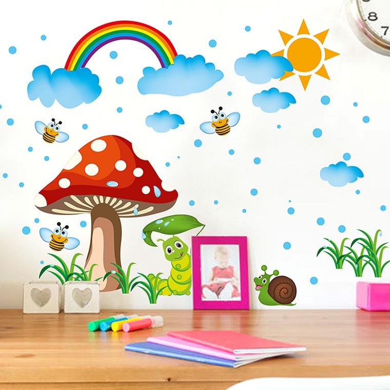 idea decorare pareti tanti stickers bambini arcobaleno