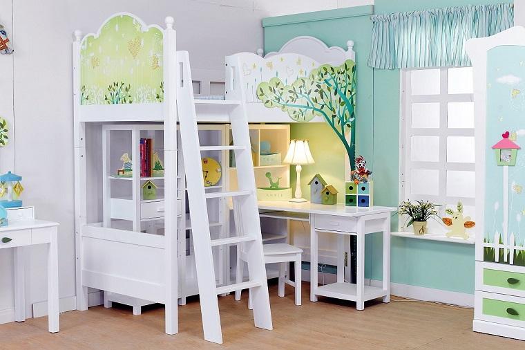 idea originale arredare cameretta pareti bianche letto soppalco
