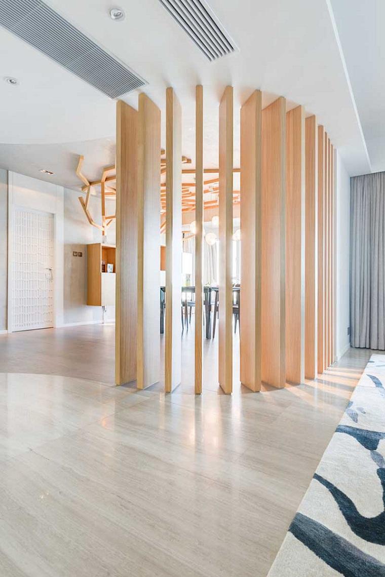 idea originale dividere spazio design pavimento legno