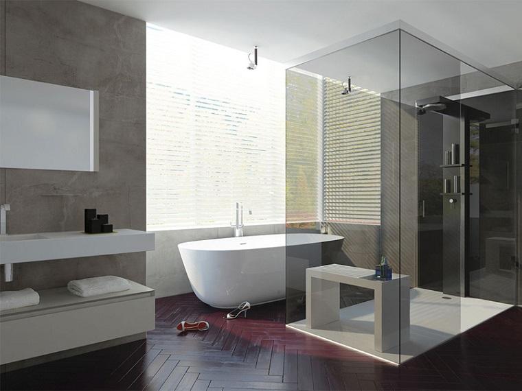 Bagno moderno 100 idee e soluzioni di design per un ambiente confortevole - Bagno pavimento legno ...