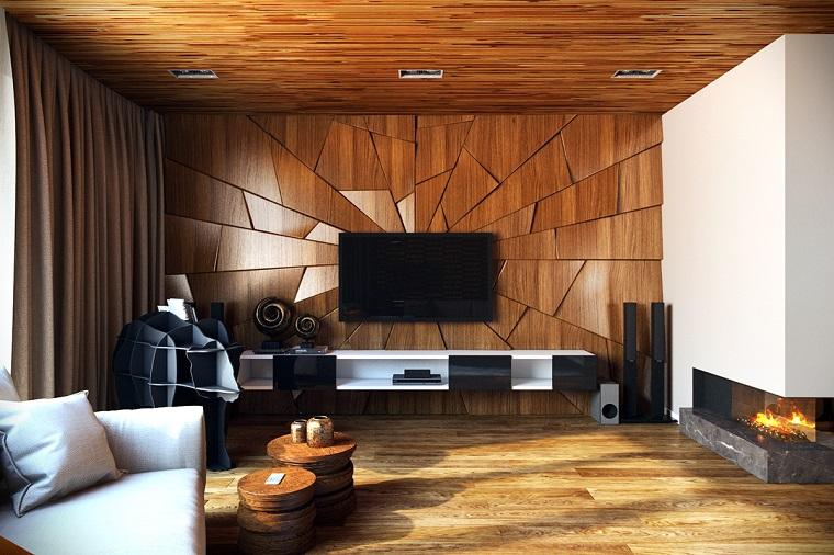 idee soggiorno arredamento legno camino