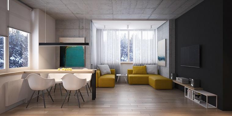 idee soggiorno arredo contemporaneo divano colore giallo lampadario
