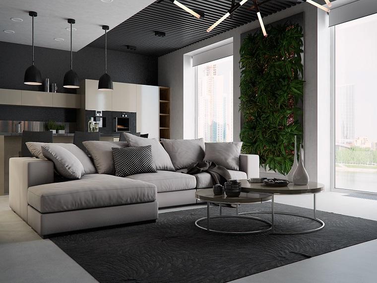 idee soggiorno divano angolare giardino verticale interno tavolino