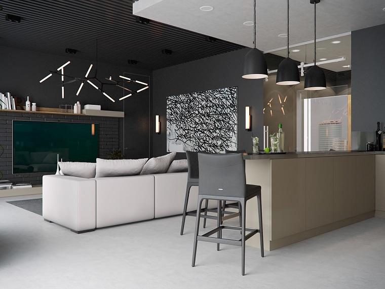 idee soggiorno open space moderno tv