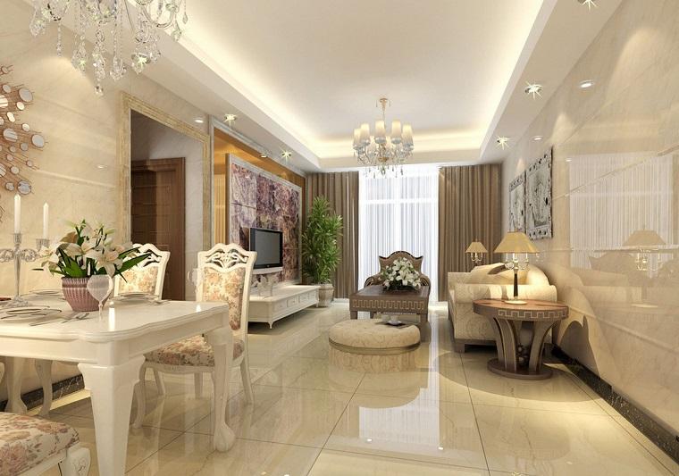interior design zona living arredata secondo stile classico open space