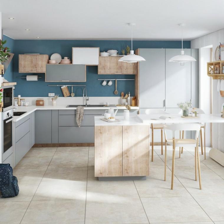 Colore pareti cucina bianca, cucina con isola centrale, pareti cucina di colore blu